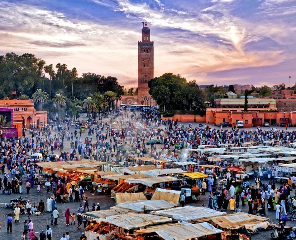 Jemaa el Fna Square at sunset in Marrakesh, Morocco. The square is part of the UNESCO World Heritage.