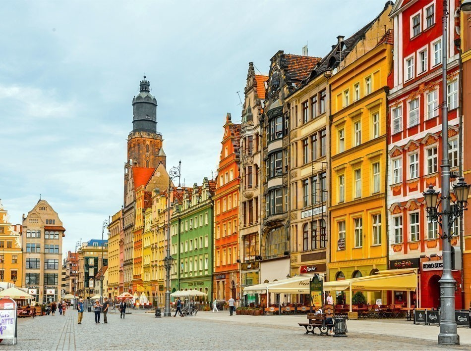 Architectue of the Market square in Wroclaw Poland   10 of the Most Colorful Cities in the World