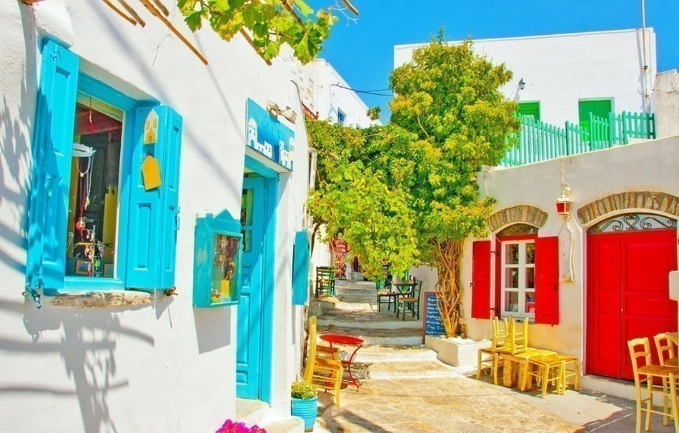 Beautiful stone made road with old traditional houses in Chora the capital of Amorgos island in Greece | 10 of the Most Colorful Cities in the World
