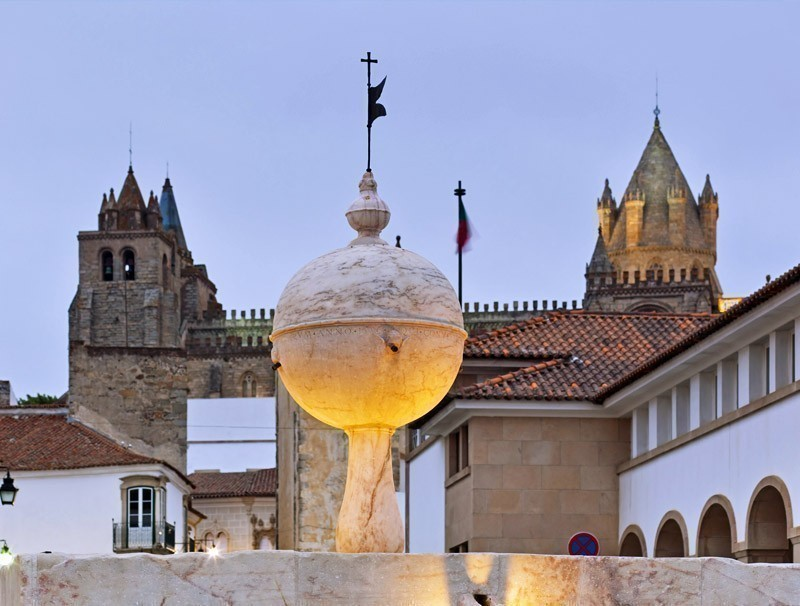Fountain and Cathedral, Portas de Moura, Evora | Portugal Travel Guide: What to Do and See