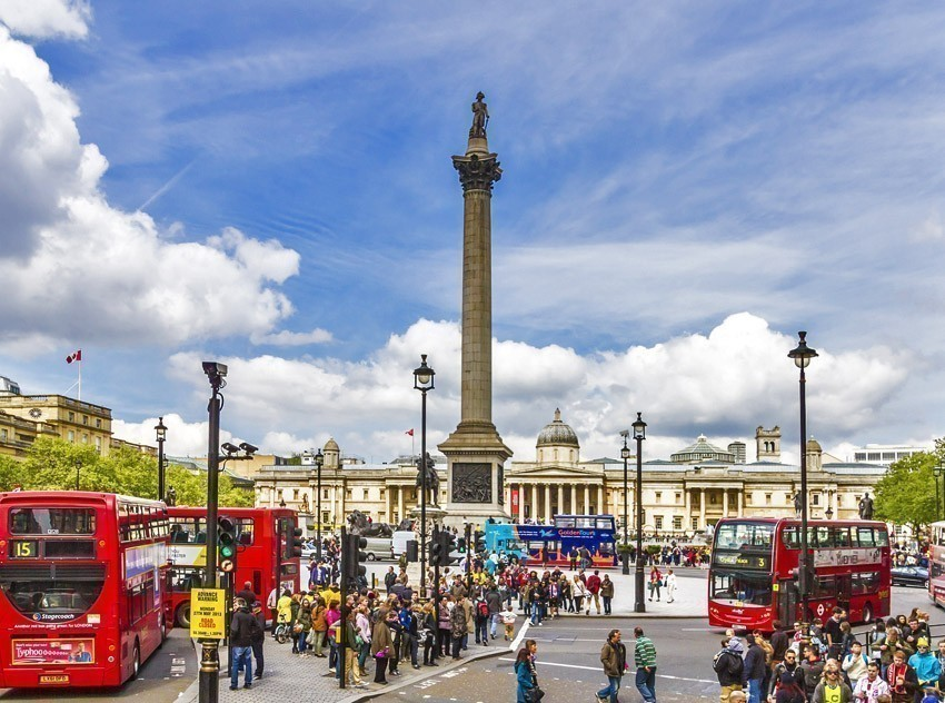 View of Nelson Column in Trafalgar Square | TOP 10 World-famous City Squares