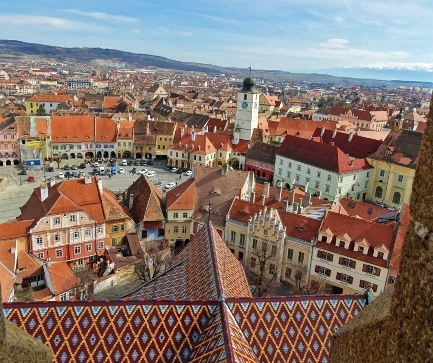 The picturesque town of Sibiu seen from the top of tower of the Lutheran Cathedral of Saint Mary | 5 Reasons Why Romania is the Country Every Traveler Needs to Visit