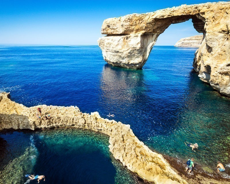 The world famous Azure Window in Gozo island - Mediterranean nature wonder in the beautiful Malta   10 Reasons Why You Should Visit Malta