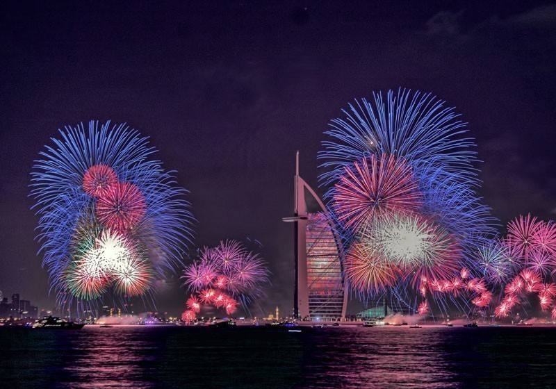 New year celebration with fireworks in Burj Al Arab and Burj Khalifa, Dubai, UAE | 10 Unforgettable Places in the World to Spend New Year's Eve