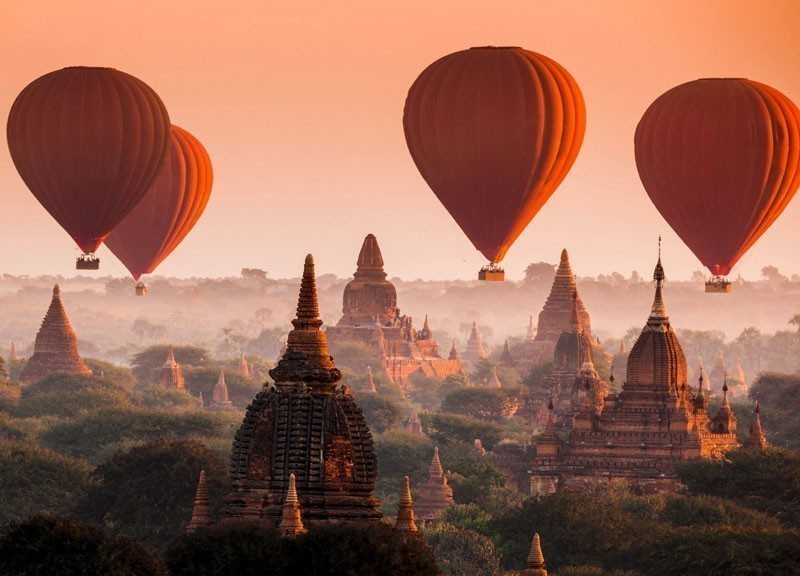 Hot air balloon over Bagan in misty morning, Myanmar | 10 Best Hot Air Balloon Rides Around The World