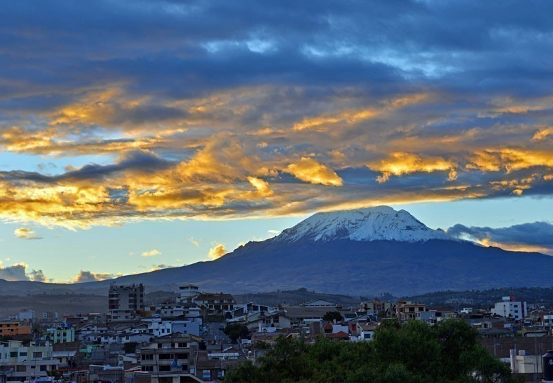 The Chimborazo volcano at sunset and the city of Riobamba, Ecuador   |   TOP 10 Places To Travel in April