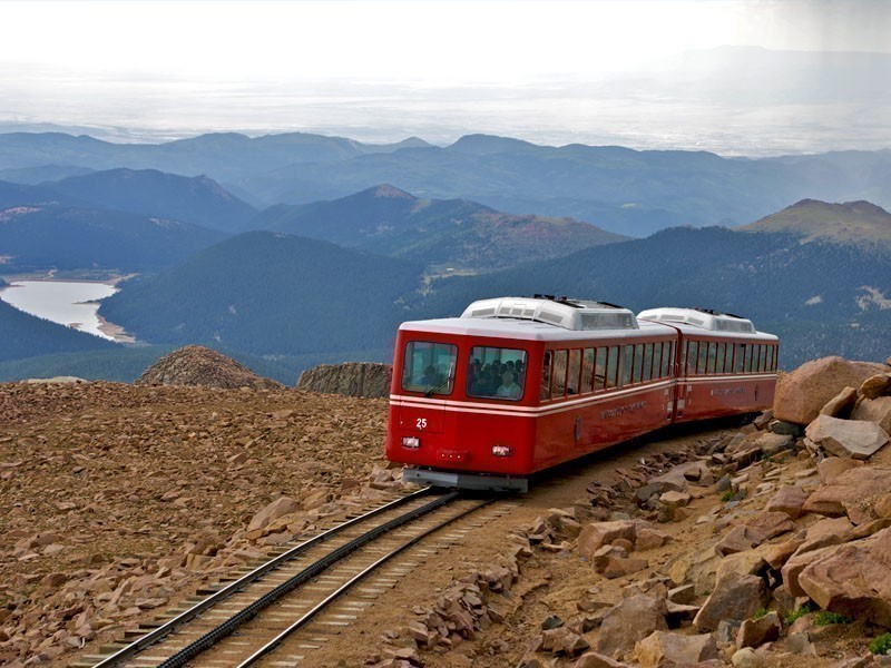 Railway on Pikes Peak, Colorado, one of the most visited mountains in the world   10 Best Places To Visit In Colorado