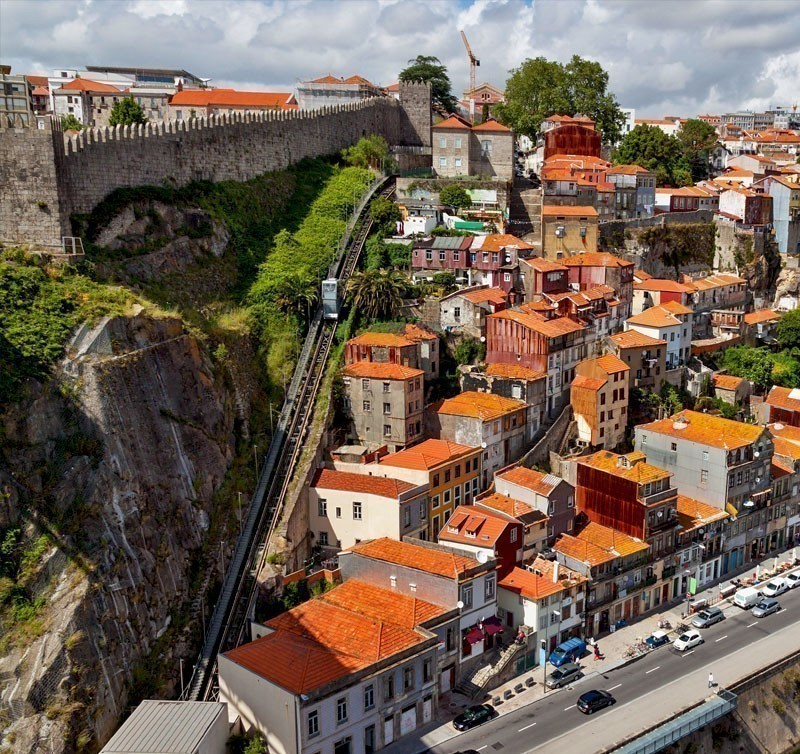 Aerial view of Funicular dos Guindais in Porto, Portugal | What to Do in Porto in 3 Days