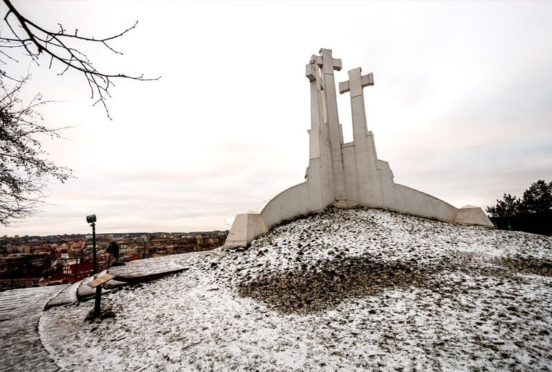 The Hill of Three Crosses in Vilnius, Lithuania - three tall white crosses of 1,8 meters each, that symbolize the power of faith and the power of the Christian religion | What to Do in Vilnius in 3 Days