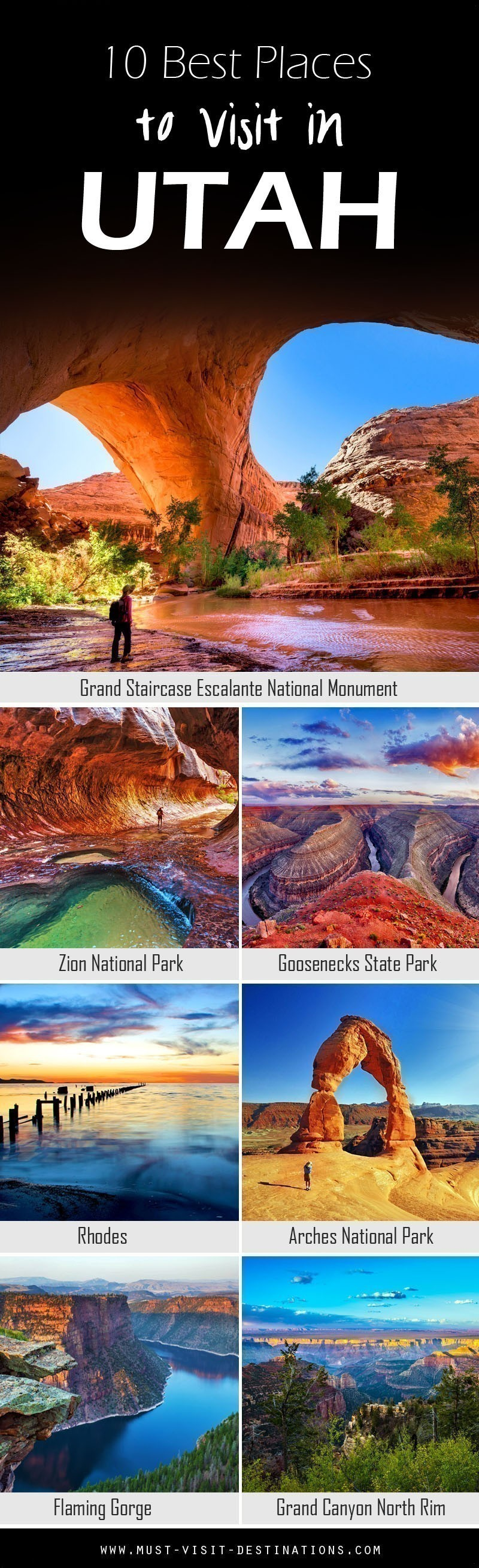 Some would argue that Utah is a state destined for nature lovers; and while there's no arguing about tastes, one thing is certain: it does have jaw-dropping, natural attractions by the bucket loads.  Here are 10 Best Places To Visit In Utah #travel